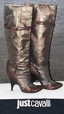 WOW Just Cavalli Stiefel Lederstiefel Wildleder gold-braun Gr.39 Logo Schuhe 1A!