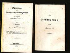 Programm des Grossherzoglichen Lyceums Carlsruhe 1855 56 + Rede Hofrat Bierordt