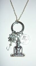 "MEDITATION - 18"" necklace with Buddha, lotus flower and Ohm symbol charms"
