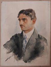 Superbe Aquarelle Ancienne Portrait d'Homme Turc c.1920 Refet Başokçu Turquie
