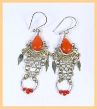 elegante Ohrhänger in orange Chandelier Ohrringe Hippie Boho Steinchen Peru Neu