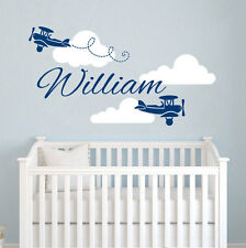 wall stickers custom name air plane cloud kids baby vinyl decal decor Nursery