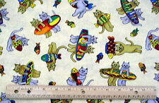 CATS SURFBOARD FISH 42 x 32 SCREEN PRINT cotton HOLLY TEX FABRIC quilting