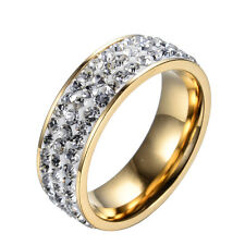 Gold Plated Titanium Steel CZ Ring Women/Men's Engagement Wedding Band Size 6-12