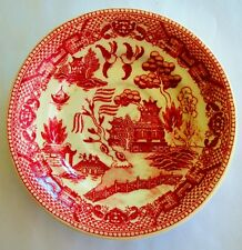 """Vintage Red Pink Willow Occupied Japan 6"""" Saucer Transfer Pattern SS Crown Stamp"""