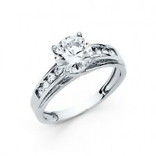 3 Ct Round Brilliant Cut Engagement Wedding Ring Trellis Solid 14K White Gold