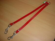 Verbindungsleine / Koppel für 2 Hunde, Leder,14mm,rot