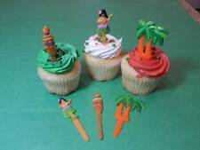 12 Hawaiian Luau Hula Girl Tiki Torch Palm Tree Cupcake Toppers Pick Decorations