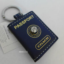 NWT COACH BLUE US Passport Pave JEWEL PHOTO PICTURE FRAME KEYCHAIN KEY RING FOB