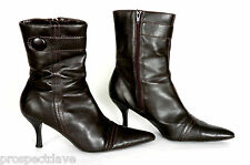 NEW LOOK Dark Brown Ladies Ankle Boots Size 8/42 (ID:P07)