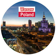 WARSAW, POLAND / FLAG / SIGHTS - ROUND SOUVENIR FRIDGE MAGNET - NEW - GIFTS