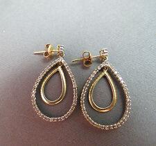 Solid 10k Gold Diamond Earrings 3.55g Heng Ngai Signed Designer Nice Estate