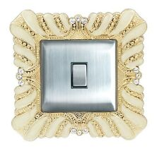 Luxurious Acrylic Cream & Gold Decoration Crystal Inlay Light Switch Surround