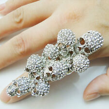 Skulls Cocktail Ring Finger Clear Rhinestone Crystal Stretch Halloween Size Free