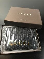 NWT Auth. Gucci Guccissima GG Black Embossed Leather Men's Tri Folded Wallet