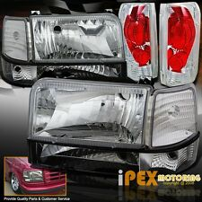 1992-1996 Ford F150 F250 Bronco Chrome Headlights + Corner Signals + Tail Lights