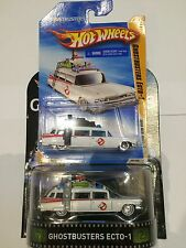 RARE 2010 NEW MODELS HOTWHEELS GHOSTBUSTERS  ECTO 1  AND RETRO ECTO 1 REAL RIDER