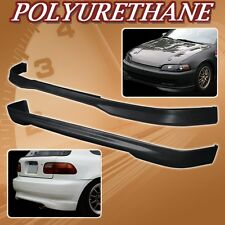 FOR 92-95 CIVIC 3DR T-R POLY URETHANE PU FRONT REAR BUMPER LIP SPOILER BODY KIT