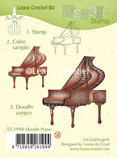 Leane Creatief - Clear Cling Rubber DOODLE Stamp PIANO   55.1994