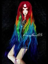 "1/3 8-9"" Dal.BJD.SD LUTS supper dollfie Doll wig Rainbow red yellow 20-22cm"