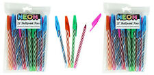 Black Ballpoint Pens Pack Of 40 Neon Colours Writing Office Supplies School