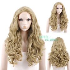"""28"""" Long Curly Ash Blonde Lace Front Synthetic Wig Heat Resistant"""