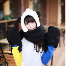 3 in 1 Black Girls Winter Warm Plush Panda Hat Hooded Scarf Scarves Hat Gloves