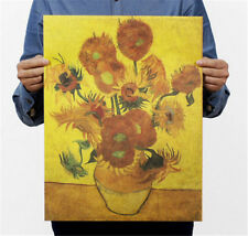 Retro Vincent Oil Painting Vase with Fifteen Sunflowers Art Post 47*35CM☆
