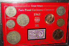 The Paris Postal Conference Centenary UK GB Coin & Stamp Collector Gift Set 1963