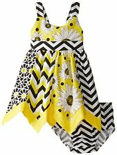 Bonnie Jean Baby Girls Sunflower & Chevron Print Hanky Hem Summer Dress 12 Mths