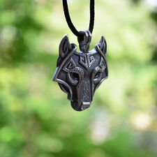 Fashion Mens Retro Stainless Steel Wolf Animal Head Pendant Necklace Chain Gift