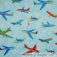 BonEful Fabric FQ Cotton Quilt Blue White Red American Boy Airplane Calico Cloud