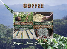 Papua New Guinea 2010 MNH Coffee 4v M/S Trees Beans Plants Stamps