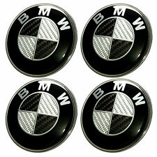 4 x 68mm  BMW Carbon Fibre Centre Caps - Hub, Alloy Wheel Badge 1 3 5 6 7