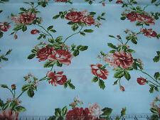 2.3 Yards Quilt Cotton Fabric - Maywood My Secret Garden Roses Tossed Light Blue