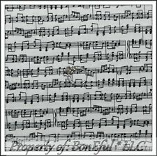 BonEful FABRIC FQ Cotton Quilt White Black B&W Sm Little Sheet Music Note Stripe