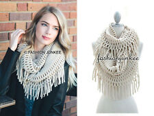 OFF WHITE FRINGE INFINITY Scarf Circle Crochet Knit Long Warm Eternity BOHO New