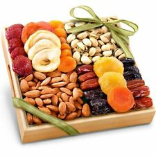 Friend Office Dried Fruits Nuts Healthy Gift Wood Tray Basket Birthday Holiday