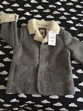 ZARA Baby Boys Wool Coat Fur Lining 3-4 Years BNWT