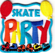 """""""SKATE PARTY"""" -  Skates, Sports, Words, Roller Skate/Iron On Embroidered Patch"""