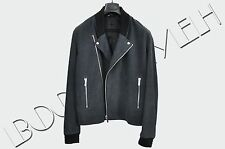 DIOR HOMME Authentic New Steel Blue Suede Leather Perfecto Biker Jacket sz 50 L