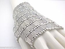 Bracelet Women Slave Glove Heavy Beaded Cuff Stretch Silver Tone