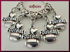 5 I Love Football Antique Silver Dangle Charm 18 mm * 34 mm with 5 mm Hole  S105