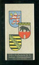 Shell Straßenkarte Nr 12 Mitteldeutschland  Sachsen um 1930