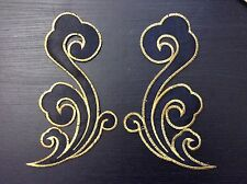 Black and gold embroidery hotfix patch lace applique irish dance dress costume