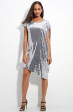 NWT - MSRP $150 - MICHAEL KORS Asymmetic Sequin Dress, Silver, Size SMALL