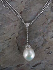 18KT White Gold Paspaley South Sea Pearl Pave Diamond Pendant Necklace Lariat