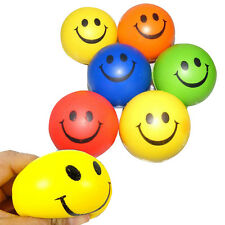 12pcs/pack Happy Smile Face Bouncy Relaxable Squeeze Ball Stress Pain Relief Toy