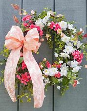 SPRING FLORAL GRAPEVINE WREATH DOOR DECOR PINK~WHITE BLOOMING SPRAYS