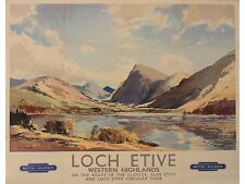 Vintage Transport Railway Rail Travel Poster RE PRINT Loch Etive West Highlands